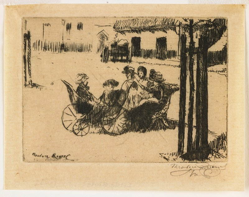 two little girls in perambulator; three women seated on bench; cart and buildings in background; partial view of tree, right foreground
