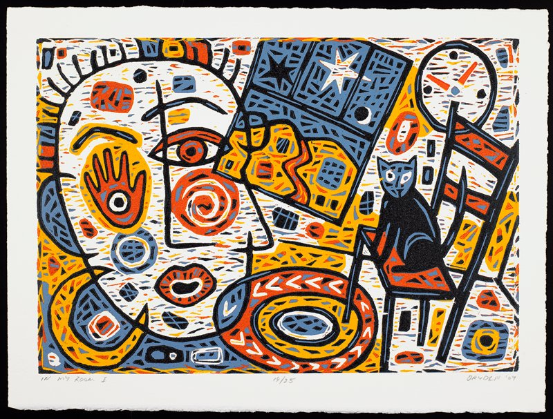 abstracted, colorful image with face at left; window with moon and stars, top center; clock, URC; cat on chair at right