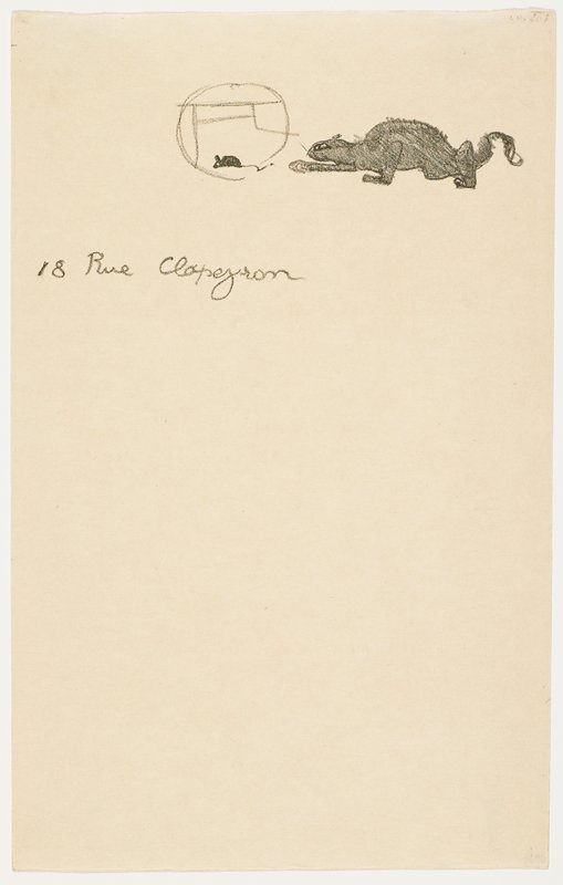"image at top of sheet of mouse inside bottom of Henri de Toulouse-Lautrec's monogram; crouching black cat with front PR paw extended, stalking mouse; ""18 Rue Clapezron"" (?) in cursive below image"