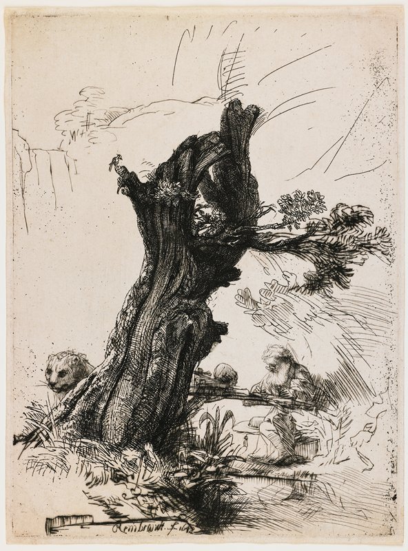 man with long white beard and glasses seated at LR, writing, behind a stumpy tree with thick trunk and thin branches on right side only; big cat's face at left looking out from behind tree