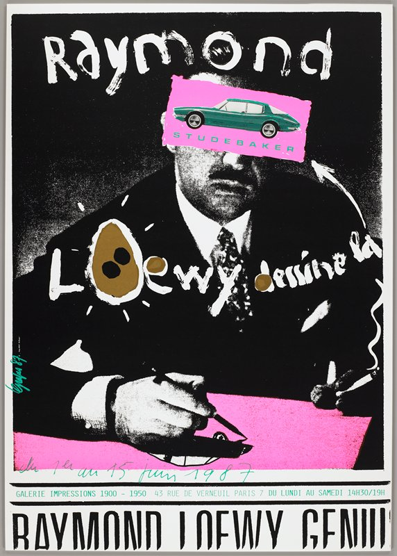 photo of a man in a shirt and tie, drawing a car on hot pink paper; eyes of man covered with hot pink rectangle with image of green Studebaker; painterly text on image, black and green text at bottom; Galerie Impressions 1900-1950 exhibition poster