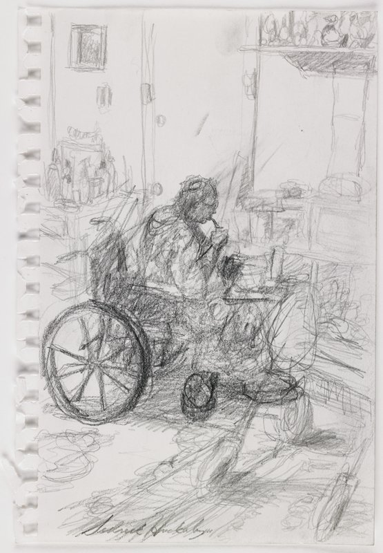 sketchy style; figure seated in a wheelchair, drinking from a straw; door behind figure; objects on table at left; page torn from notebook