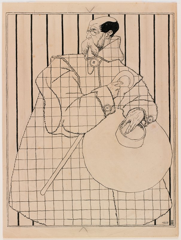 slightly stylized portrait of a standing man with face in profile, PL, and body facing forward; black hair; very large moustache; pince-nez glasses; holding very large hat in PL hand and cane in PR hand; oversized coat with grid pattern; lines behind figure