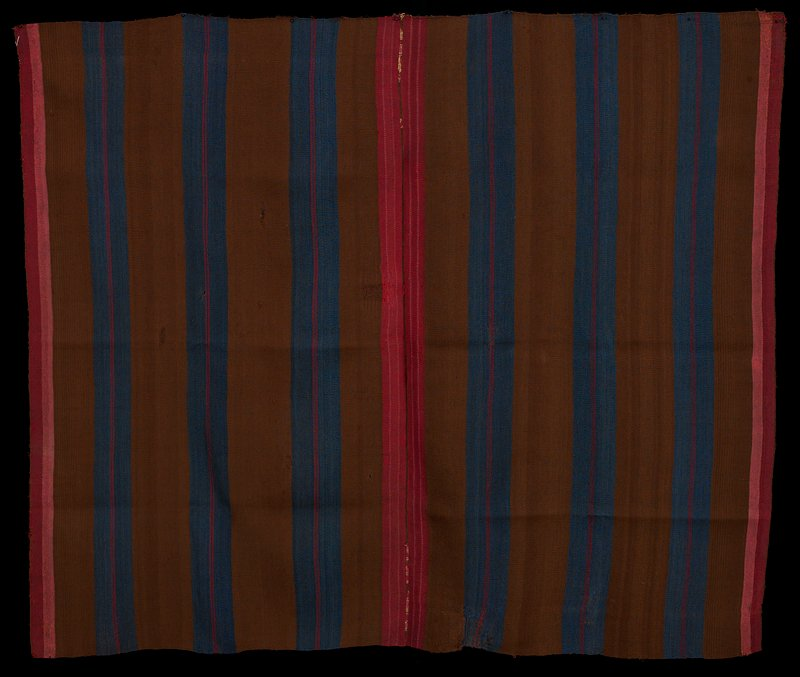 two pieces sewn together; brown with blue and thin red stripes on main portion of panels; pink and red stripes at ends of panels; warp faced plain weave