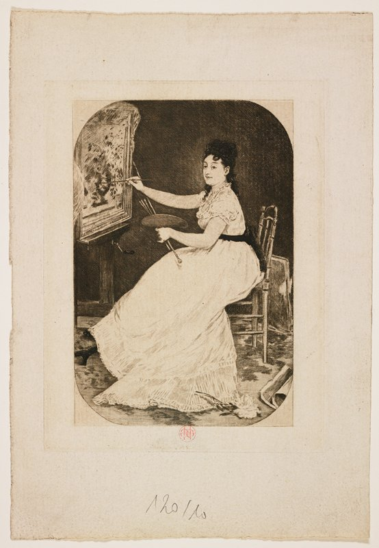 two-sided print with same image on each side--slightly more detail on side with stamp and inscription; seated woman at an easel, holding palette, brushes and maul stick, at work on a framed painting; large flower on floor, LRC; woman wears white gown with dark waist sash; dark curly hair