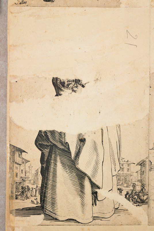 lower skirt and portion of sleeve visible; small buildings and tiny figures far in background; affixed to the LLC on back of drawing