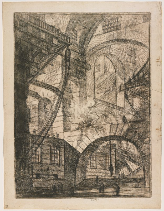 Plate 6 from Carceri d'Invenzione large archways integrated with monumental stone architecture; silhouettes of figures standing below