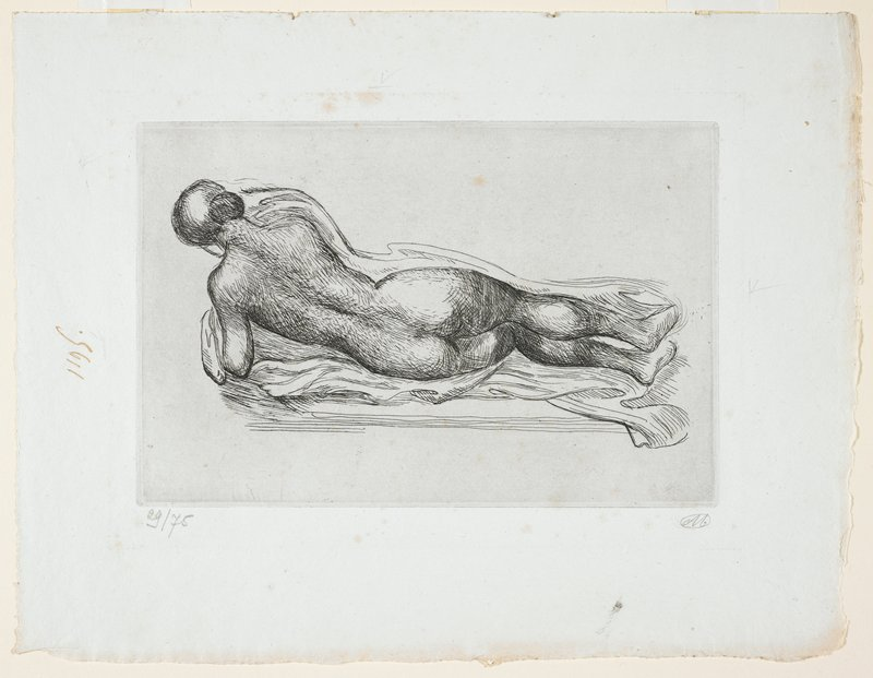 Reclining female nude seen from behind; small wood frame, French mat