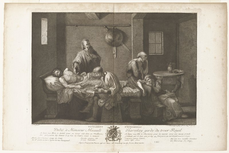 dying man on bed; doctor standing next to bed, hand on chest of man; man seated on bed writing; two women at foot of bed, weeping