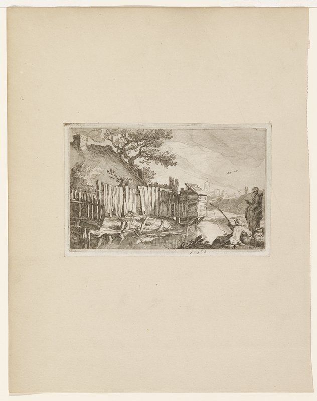 two figures foreground right, one fishing; structure and wood fence on opposite bank; trees behind structure; city in distance