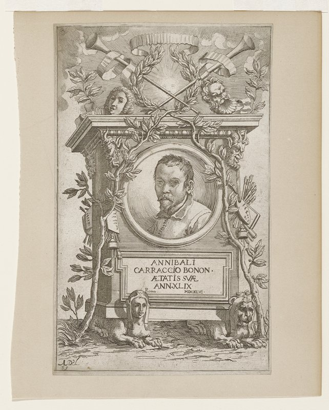 monument (tombstone?) with circular portrait bust of a man in center; vines on both edges of monument meet at center top to form wreath; faces at upper corners; lion at lower right; lioness(?) at lower left; artist's pallet with brushes and ink bottle on right edge