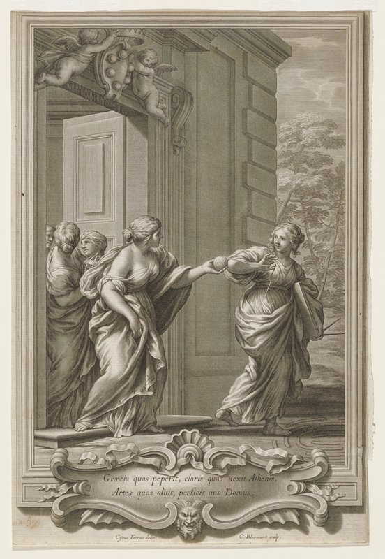allegorical scene; three women exiting a doorway with Medici Family arms above; first woman holding geometric tools and unwinding string held by second woman; second woman has algebraic symbols on hem of robe; third woman holding open globe shaped object