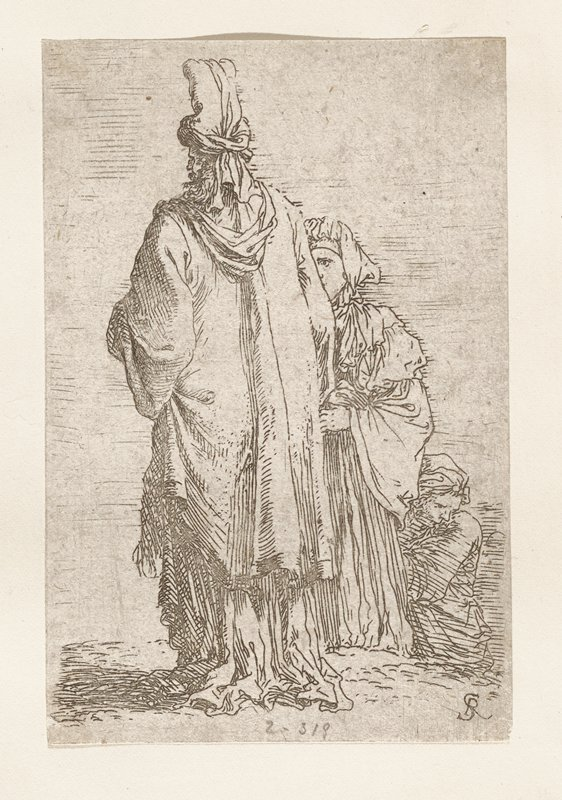 three figures; man standing with back to viewer; turban with feather on head; woman standing to right of man and partially hidden; woman kneeling or seated behind standing woman also partially hidden