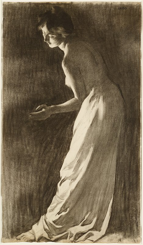 standing woman in profile, slightly leaning forward and with PL hand outstretched; matted with wood frame and Plexiglas