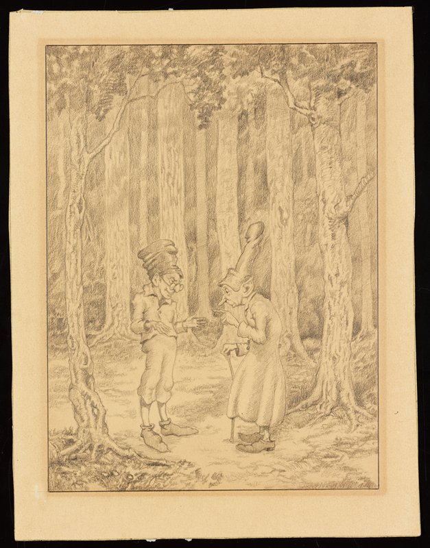 sketch of two elf figures standing in a forest; figure on left wears knickers, a cap and glasses; figure on right has a walking stick and wears a long cloak and a tall hat