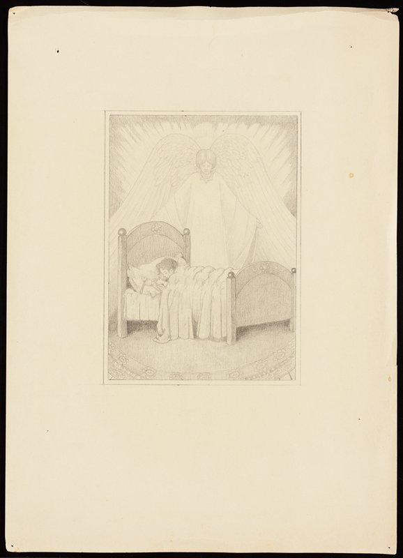 angel with very large wings standing behind a child sleeping in a bed, holding a toy on his pillow