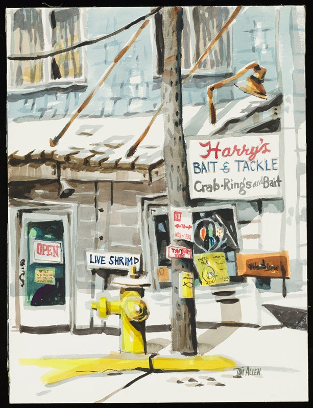 street signs and store signs in a winter scene; yellow fire hydrant in foreground