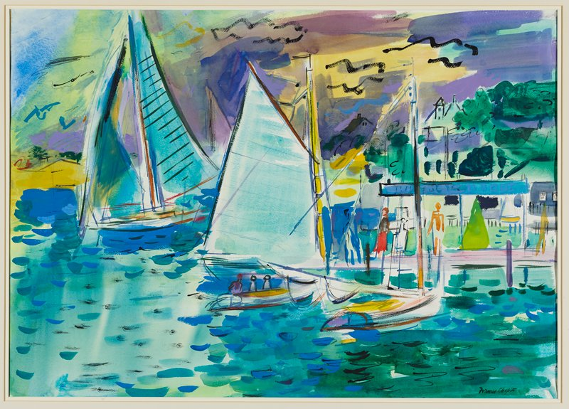 brightly-colored image of three sailboats; dock at right with two figures