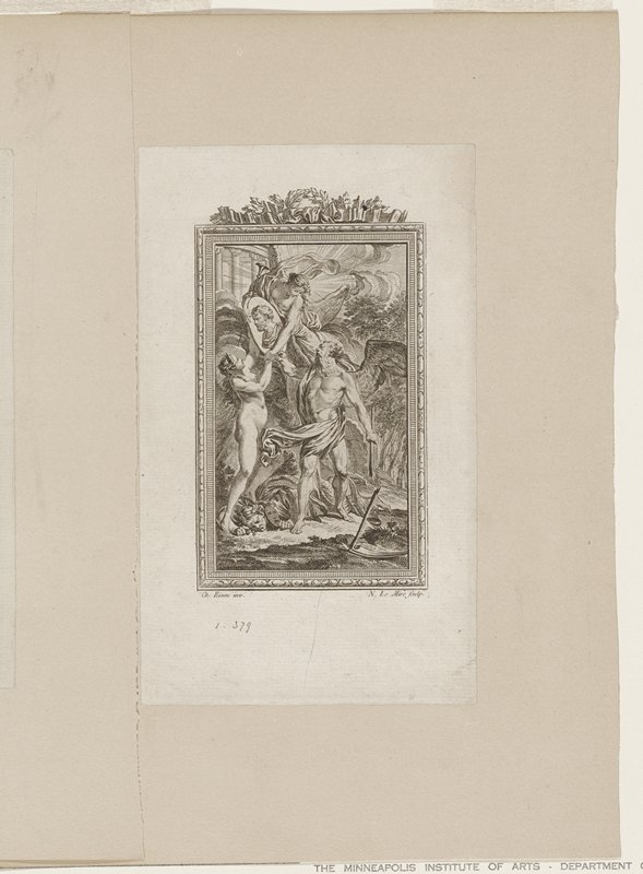 within a frame four figures in a landscape; upper angel holding oval portrait of man; standing male angel holding broken handle of sythe; woman under his feet; fourth figure, woman handing portrait to upper angel; landscape includes parts of building at top, rocks and trees