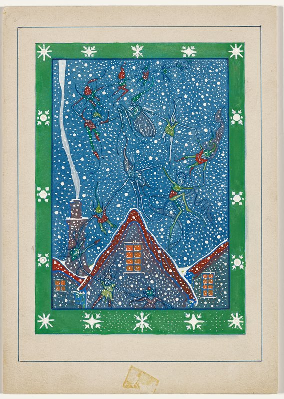 fairies with hands joined dancing in a snowy night sky with rooftops at bottom; edged in green border with white snowflakes; may be unfinished