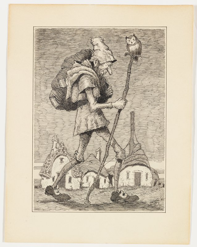 walking man with long beard and long nose, carrying a pack on his back and holding a tall T-shaped walking stick with an owl perched on top; cluster of cottages in background