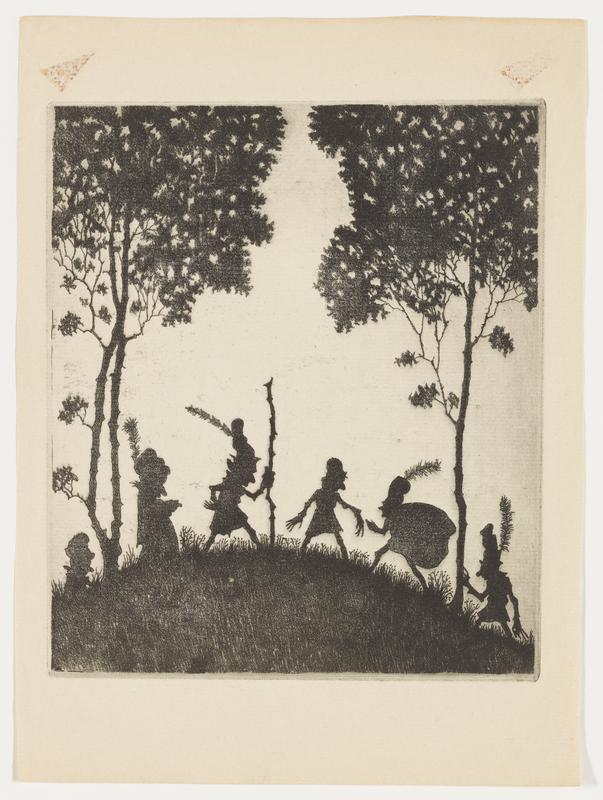 six silhouetted figures on a small hill; four figures wear caps with very tall feathers; one figure carries a large sack on his back; one figure has a walking stick; two tall trees with thin trunks at right and left edges of image