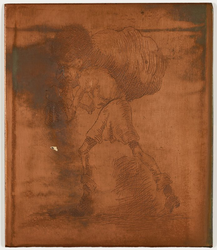 image of walking man wearing tunic, boots and a tall fuzzy hat, carrying a large sack over one shoulder on his back
