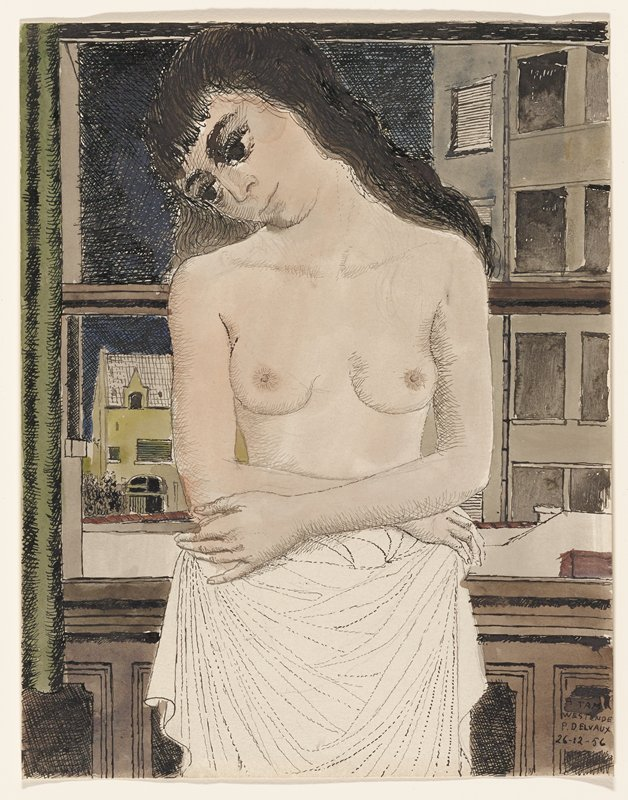 3/4-length study of a bare-chested young woman, with a white cloth around her waist and long dark hair, leaning her head to the PR, standing in front of a window with city buildings visible behind her