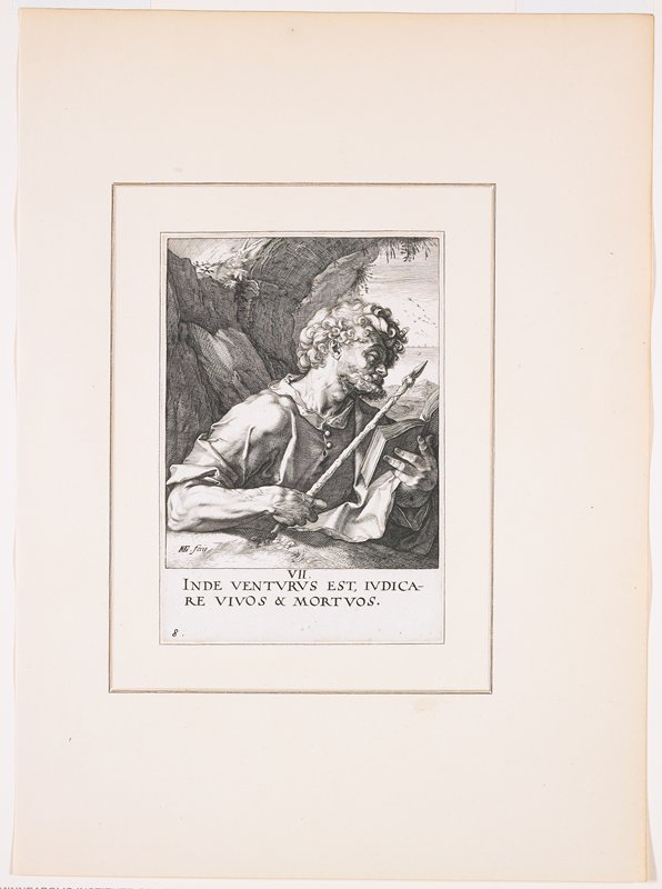 """man with curly hair and beard, looking at a book held in his PL hand, holding a staff with a spear tip in his PR hand; cliff behind man with sea over his PL shoulder, birds flying over water; text at bottom: """"VII. / INDE VENTURUS EST, IVDICA- / RE VIVOS & MORTUOS."""""""