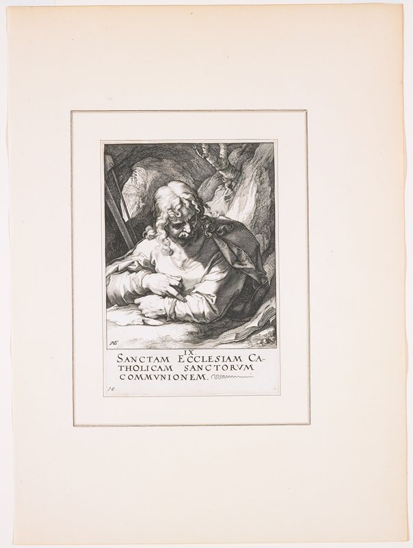 """man with long curling hair and curly moustache; head tilted down, with foreshortened face; man reads from a book propped up at his PL elbow; cave-like landscape behind man, with tree over his PL shoulder; text at bottom: """"IX. / SANCTAM ECCLESIAM CA- / THOLICAM SANCTORUM / COMMUNIONEM."""""""