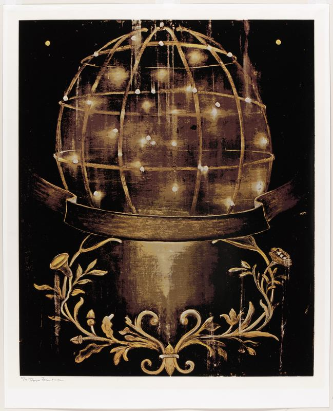 cream-colored paper; globe sits atop stand with black ribbon across bottom of globe; decorative floral element at bottom; tan, yellow, grey, brown and black ink; behind Plexiglas in blonde wood frame