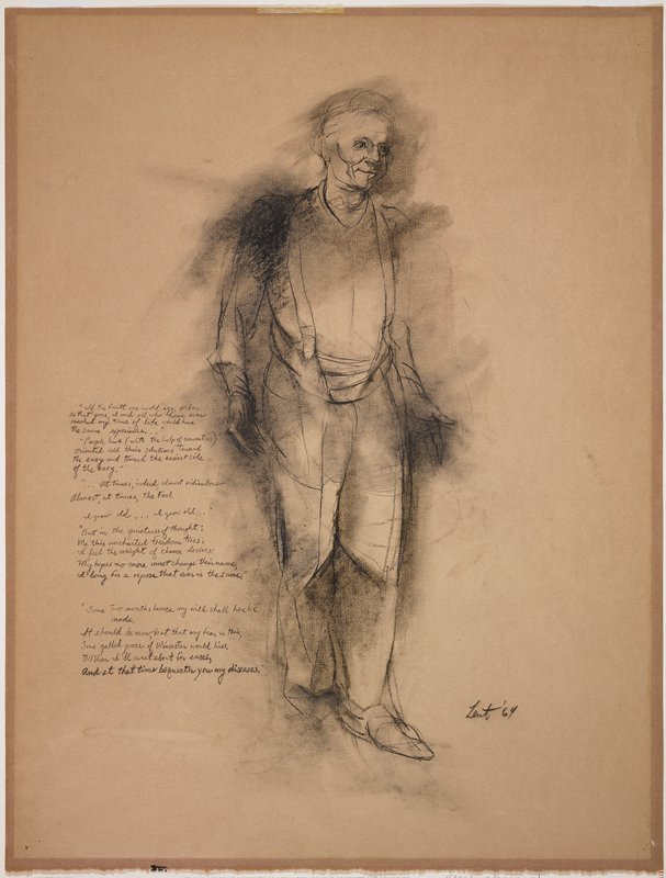 sketch of a smiling standing man wearing suspenders, holding his hands at his sides with palms facing forward; hand-written text at left
