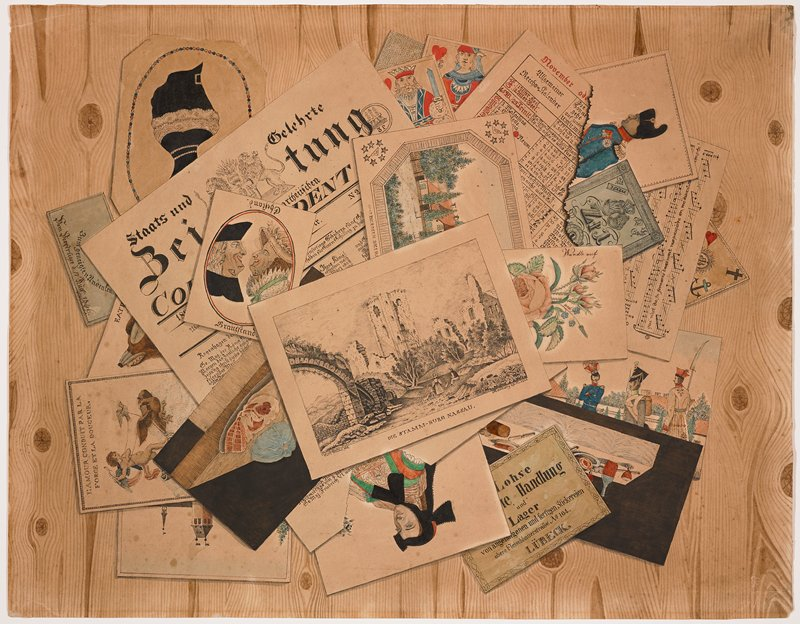 trompe-l'oeil image of various pieces of printed paper--black and white print of figures in a ruined landscape, newspaper front page in German, color image of buildings, images of soldiers, portrait of a woman wearing black headgear, still-life with bottles and food, flower, playing cards, sheet music--on a knotty wood background