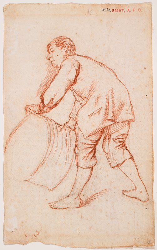 recto: partially reclining body with long hair, leaning on his PL elbow, PR knee raised, looking up; boy wears jacket and knickers; verso: young man wearing long vest and knickers, with bare lower legs and feet, bending over to grasp a small barrel-like object; received framed with both sides of drawing visible