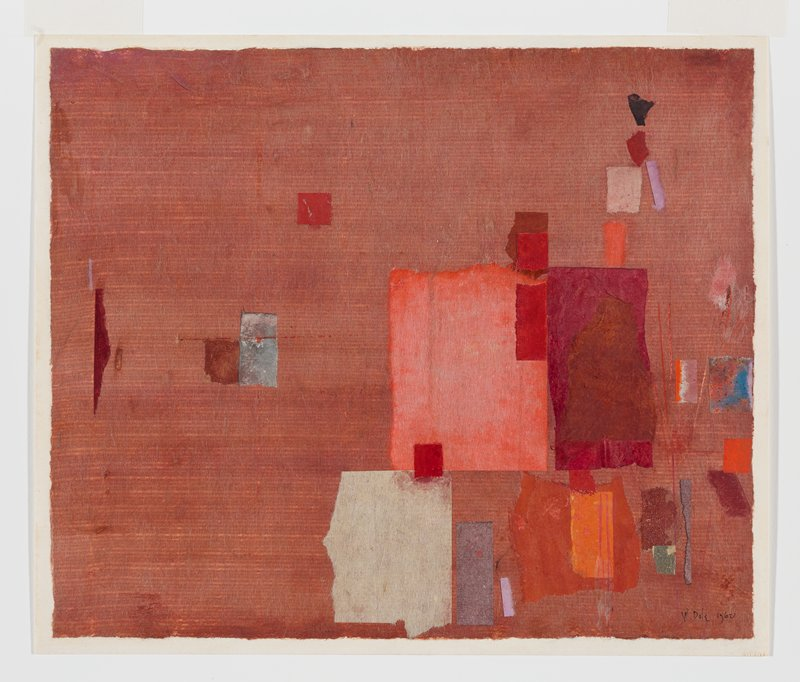 rust-red ground paper applied to white sheet; predominately rectangular pieces of colored paper, mainly applied to LRQ--oranges, reds, purple, browns, cream-colored
