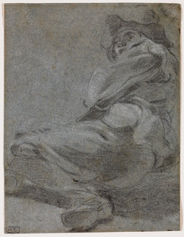 reclining foreshortened figure, lying on PR side, with knees bent and feet drawn up; sketchy