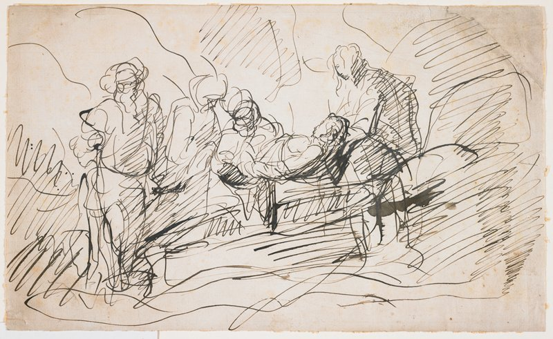 very sketchy, with long flowing lines; four figures surround and carry body of Jesus at center