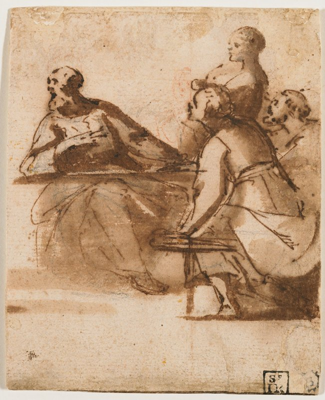 three seated figures and one standing figure, all looking toward left; frontmost figure seated on a bench