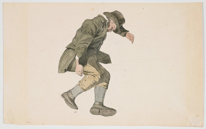 male figure wearing tan knickers, grey socks, greenish long coat and top hat, resting his head on his PL arm; no background differentiated