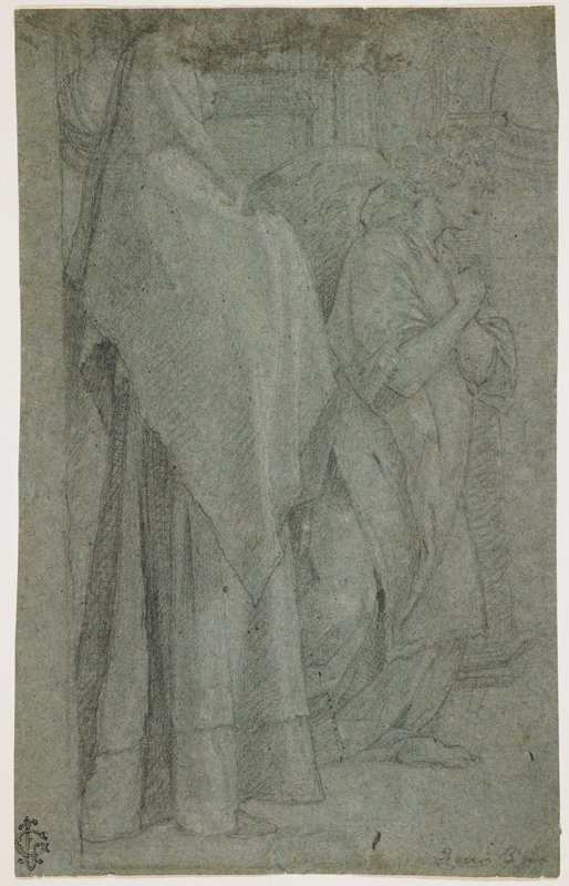 standing woman seen in profile from PR, wearing long skirt and long head covering, also covering her crossed arms; angel to woman's left, slightly bending his knees, with wrists crossed at his chest; angel has curly hair; architectural details in background