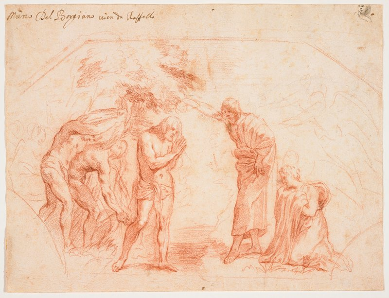 Jesus standing left of center, wearing a loincloth, with John the Baptist right of center, pouring water on Jesus' head; two figures at left, one kneeling figure at right; sketchy angels at right edge; several other sketchy figures at left; tiny face in black ink, URC