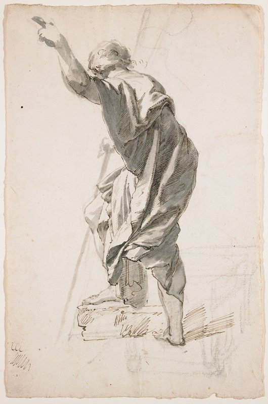 standing male figure, seen from back, PL side, with PL foot up on a short platform; man bends slightly at the waist and leans slightly forward, with PL arm upraised