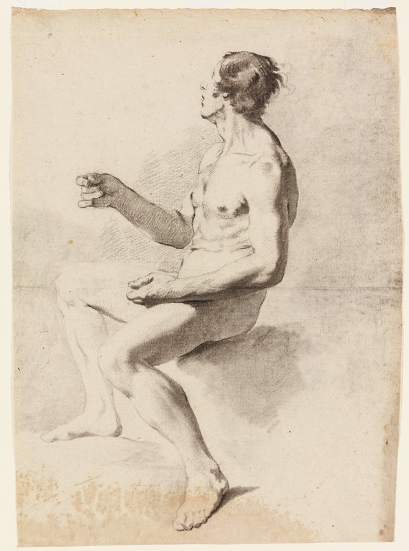 seated nude male figure seen from PL with body slightly turned to PL; PR arm raised, PL arm resting on thigh, with hands in loose fists; dark hair