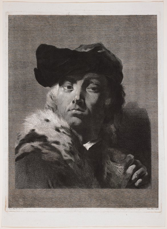 portrait of man wearing grey and black hat and coat with white fur collar; man turned slightly to PR, with PL hand touching collar; ground of thin horizontal lines