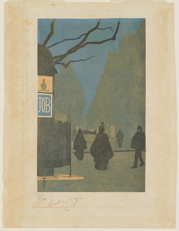 """four figures on a grey street; dark blue sky; black structure at left with two signs--blue and white sign printed """"JOB"""" and yellow, black and white sign with a vase and """"ENEDICTIINE"""" in white"""