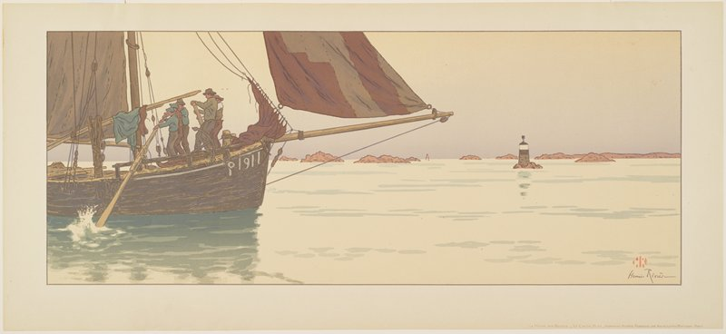 men standing on a boat with brown sails, rowing with two large oars; buoys and rocks at right