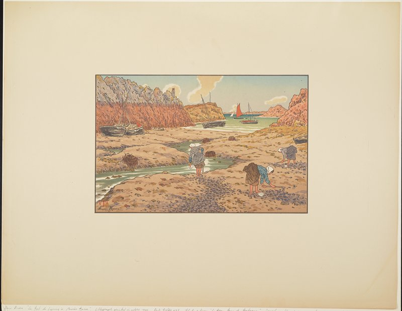 three women digging with pickaxes on a beach; each woman has a white bowl; three boats on shore at left; boats on water in URC