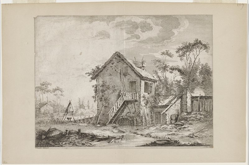 house with stream(?) running through lowest level; outside staircase with woman about halfway up the steps; top landing has door and ladder reaching to loft above; two small buildings at left distance; stool inside a teepee shape structure with partial roof; low structure at right attached to house and to wall with gate at far right; trees at right and left distance