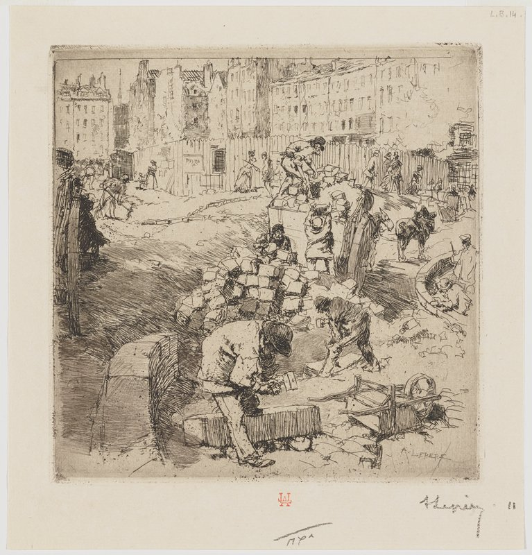 workmen breaking up building blocks and loading them on a wagon, with a large pile of blocks at center of image; buildings in background; overturned wheelbarrow, LRC
