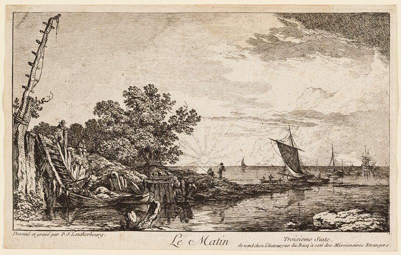 sailboats on water at right; two men fishing on small peninsula at center, with rising sun on horizon; large tree left of center; man pushing off on boat in LLC, with two men on top of berm at left; ladder from shore to top of berm at left
